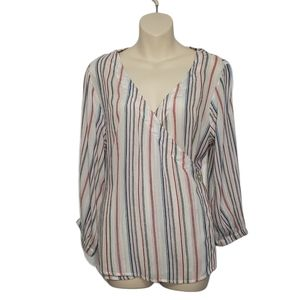 RW & CO striped wrap front blouse small NEW